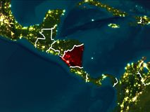 Carte du Nicaragua la nuit Photo stock