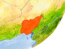 Carte du Nigéria sur terre Photo stock