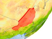 Carte du Niger sur terre Photo stock
