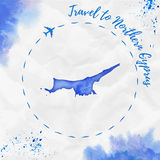 Carte du nord d'aquarelle de la Chypre dans des couleurs bleues illustration libre de droits
