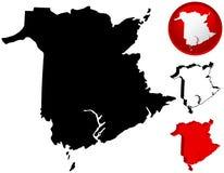 Carte du Nouveau Brunswick, Canada Image libre de droits