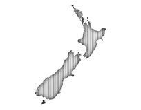 Carte du Nouvelle-Zélande sur le fer ondulé, illustration de vecteur