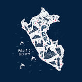 Carte du Pérou Photographie stock
