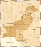 Carte du Pakistan - illustration détaillée de vecteur de vintage Image stock