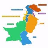 Carte du Pakistan plate Photos libres de droits