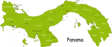 Carte du Panama illustration stock
