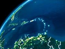 Carte du Porto Rico la nuit image stock