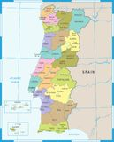 Carte du Portugal - illustration détaillée de vecteur Photos libres de droits