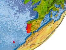 Carte du Portugal sur terre Image stock