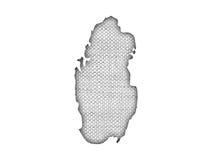 Carte du Qatar sur la vieille toile Image libre de droits