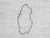 Carte du Qatar sur la vieille toile Photographie stock