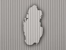 Carte du Qatar sur le fer ondulé Photo stock