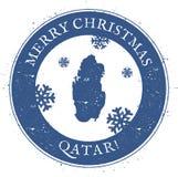 Carte du Qatar Timbre du Qatar de Joyeux Noël de vintage Image libre de droits