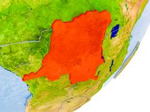 Carte du République démocratique du Congo sur terre Photo stock
