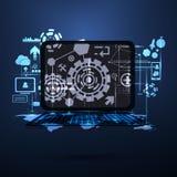 Carte du réseau globale de technologie avec le vecteur de concept d'ordinateur Photographie stock