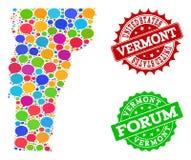 Carte du réseau sociale d'état du Vermont avec des bulles d'entretien et des filigranes de détresse illustration stock