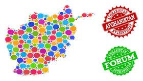 Carte du réseau sociale de l'Afghanistan avec des nuages de causerie et des timbres de détresse illustration stock