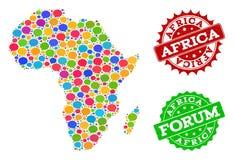 Carte du réseau sociale de l'Afrique avec des bulles de causerie et des filigranes de détresse illustration de vecteur