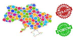 Carte du réseau sociale de l'Ukraine avec des bulles de la parole et des filigranes rayés illustration de vecteur