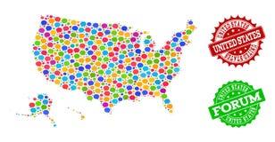 Carte du réseau sociale des territoires des Etats-Unis avec des bulles de la parole et des filigranes de détresse illustration libre de droits