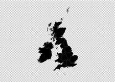 Carte du Royaume-Uni - carte noire détaillée de haute avec des comtés/régions/états du R-U Carte du Royaume-Uni d'isolement sur t illustration de vecteur