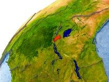 Carte du Rwanda en rouge sur le globe Photo libre de droits