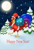 Carte du ` s de bonne année de vacances Santa Claus Rooster avec un sac des cadeaux Célébration d'an neuf Illustration Stock