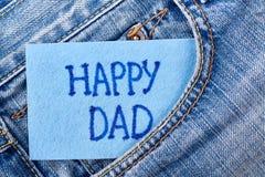 Carte du ` s de papa dans la poche de jeans Image stock