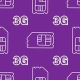 carte du sim 3G Vecteur 3g SIM Cards Seamless Pattern sur le fond Image libre de droits