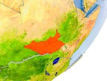 Carte du Soudan du sud sur terre Photographie stock