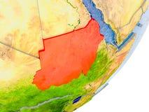 Carte du Soudan sur terre Image stock