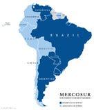 Carte du sud d'infos de pays de marché commun de MERCOSUR illustration de vecteur
