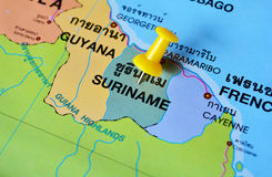 Carte du Surinam Photos stock