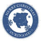 Carte du Surinam Joyeux Noël Surinam de vintage Images stock