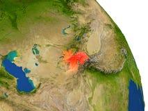 Carte du Tadjikistan en rouge illustration stock