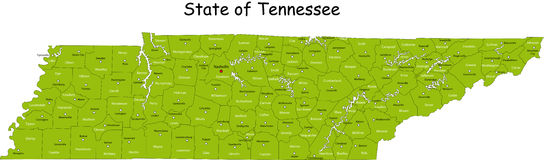 Carte du Tennessee Photographie stock libre de droits