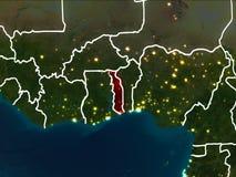 Carte du Togo la nuit Photographie stock libre de droits