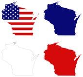 Carte du Wisconsin avec le drapeau des Etats-Unis - état aux Etats-Unis du centre-nord Image libre de droits