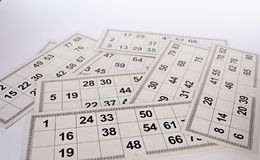 Carte e barili per il gioco russo di bingo del lotto su fondo bianco royalty illustrazione gratis