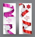 Carte eleganti con i nastri ed i fiori di seta Fotografia Stock