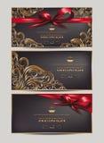 Carte eleganti dell'invito con gli elementi ed i nastri di progettazione floreale Immagine Stock Libera da Diritti
