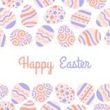 Carte en pastel de vecteur de salutation Freme heureux de Pâques avec les oeufs et le lettrage illustration stock