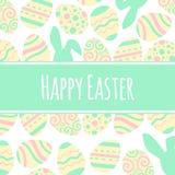 Carte en pastel de vecteur de salutation Freme heureux de Pâques avec les oeufs et le lettrage Images libres de droits