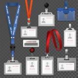 Carte en plastique vierge blanche d'identification de vecteur d'identification d'insigne pour identifier l'ensemble d'illustratio illustration stock