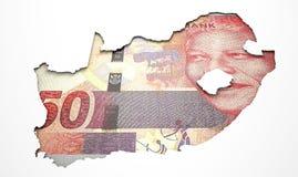 Carte enfoncée Afrique du Sud de pays Image libre de droits