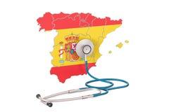 Carte espagnole avec le stéthoscope, concept national de soins de santé, 3D r illustration libre de droits