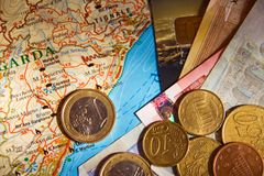 Carte et argent Images libres de droits