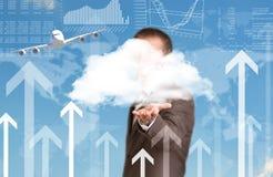 Carte et avion du monde Homme d'affaires comme contexte Image stock