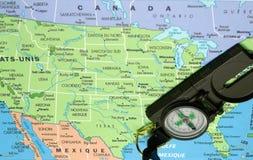 Carte et boussole des Etats-Unis Images stock