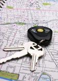 Carte et clés Images libres de droits